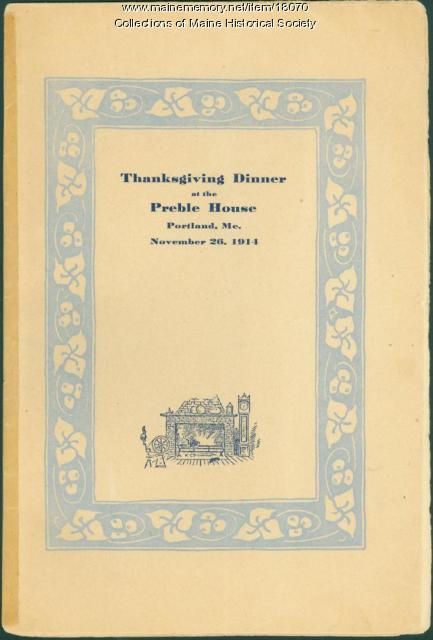 Menu, Preble House, Portland, 1914