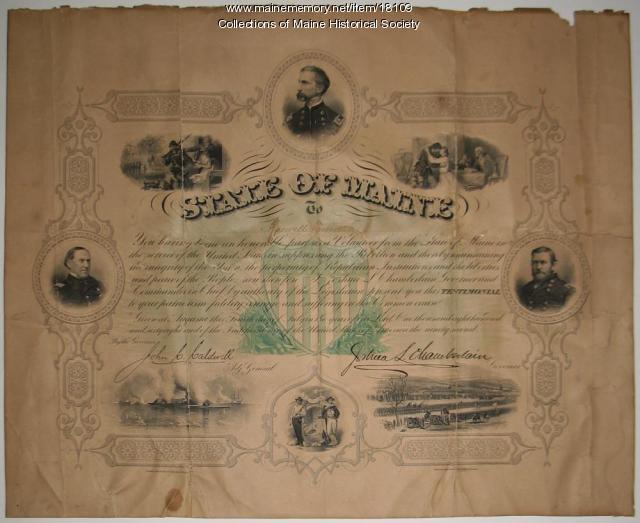 Roswell Prescott discharge certificate, 1868