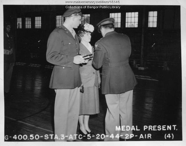 Medal presentation, Dow Field, Bangor, 1944