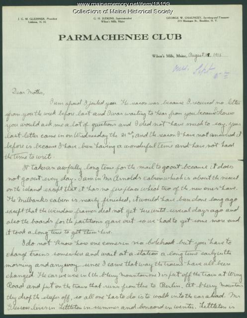 Harris D. Colt letter from Parmachenee, 1918