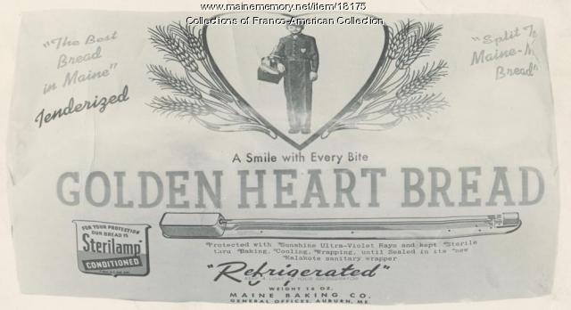 Golden Heart Bread label, Auburn, ca. 1940