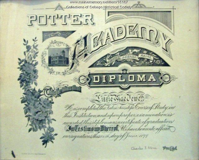 Lizzie Mae Jewell Potter Academy diploma, Sebago, 1899