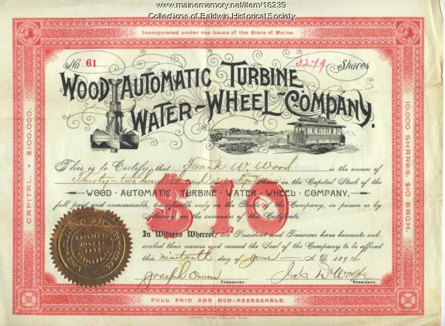 Wood Automatic Turbine stock certificate, Baldwin, 1894