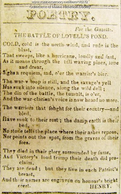 Battle of Lovell's Pond poem