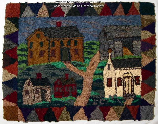 Hooked rug of rural scene