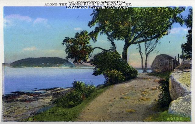 Along the shore path, Bar Harbor, ca. 1930