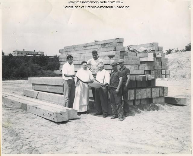 Construction discussion, St. Dominic's Hockey Arena, Lewiston, ca. 1949
