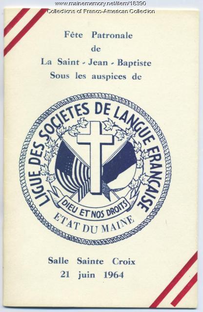 Program, Saint Jean Baptiste day, 1964