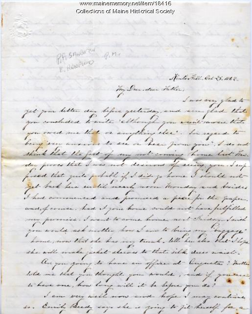 Sarah Sanborn letter on death, disease, 1862