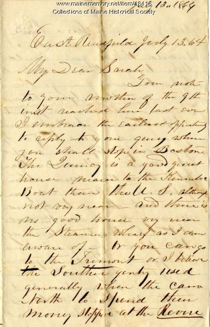 Peter Sanborn letter to daughter, 1864