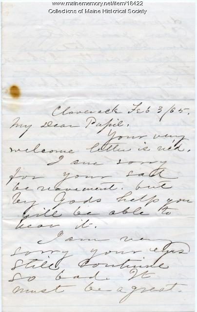 Letter from Alonzo Flack to Sarah Sanborn, 1864