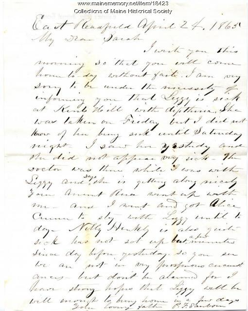 Peter Sanborn letter to daughter, 1865