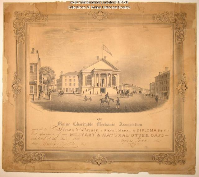 Diploma, Maine Charitable Mechanic Association, 1838