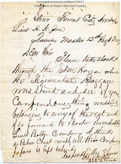 Letter concerning regimental supplies, 1861