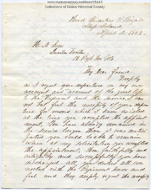 George F. Shepley letter to Horatio Jose, 1862