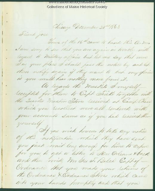 Charles Webb letter to Horatio Jose, Portland, 1863