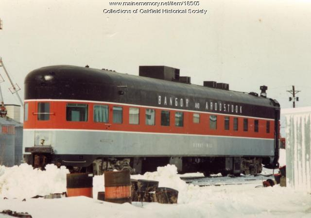 Bangor and Aroostook Railroad office car, Burnt Hill, c. 1990