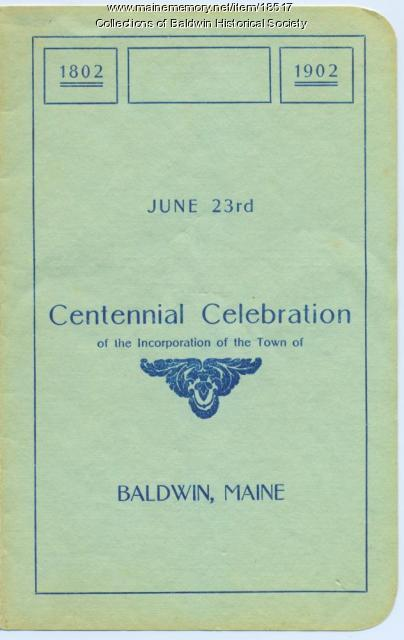 Baldwin Centennial celebration program, 1902
