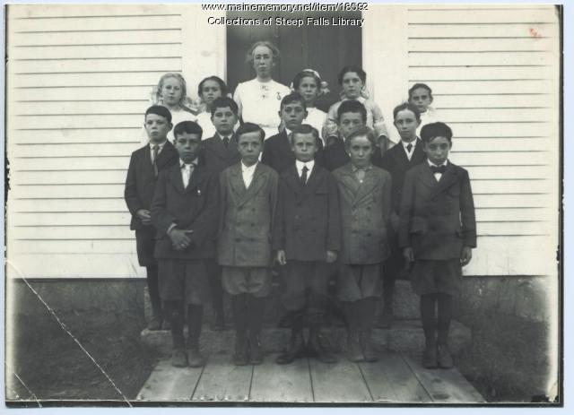 Students and teacher, Steep Falls, ca. 1931