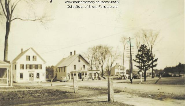 Steep Falls village square, c. 1938