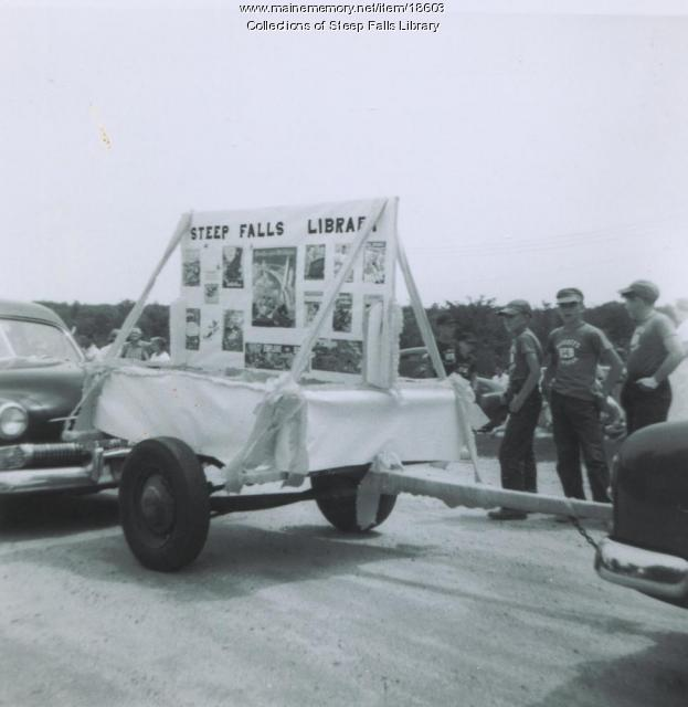 Steep Falls Library float, 1958