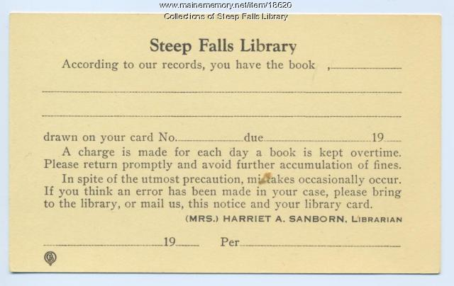 Steep Falls Library overdue postcard