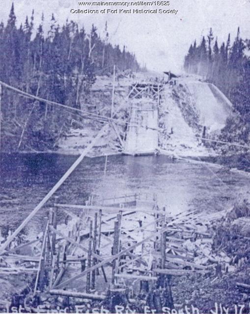 Building bridge for Fish River Railroad, ca. 1902