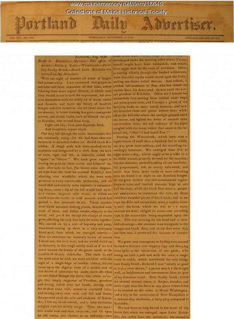 Elizabeth Oakes Smith account of climbing Katahdin, 1849