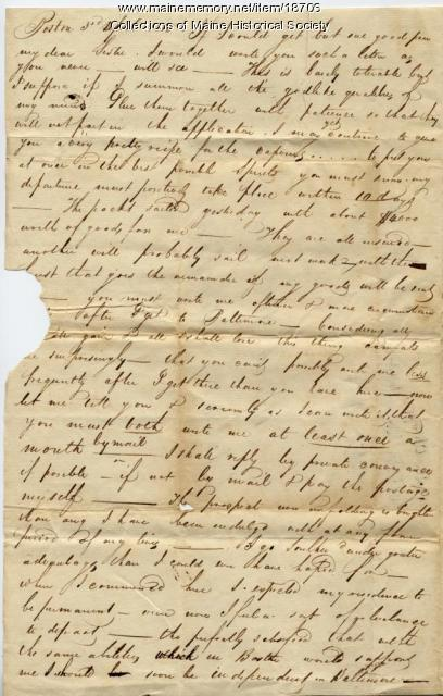 John Neal letter concerning move to Baltimore, 1815