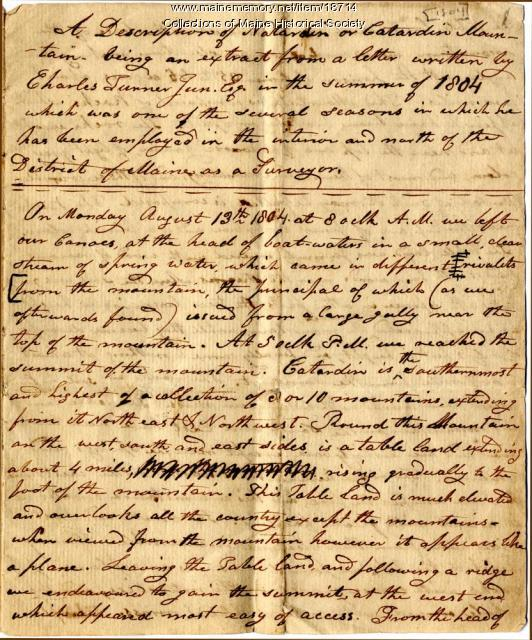 Charles Turner account of climbing Katahdin, 1804