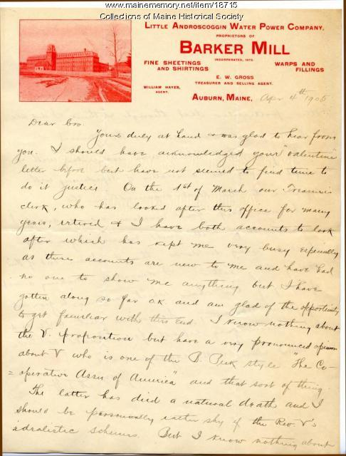 Allen Winslow letter to brother Burton Winslow, 1905