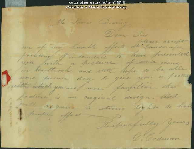 Charles Codman letter to James Deering, ca. 1830