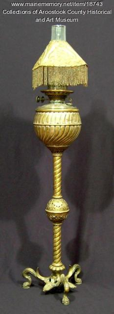 Silver plated brass oil lamp, ca. 1890