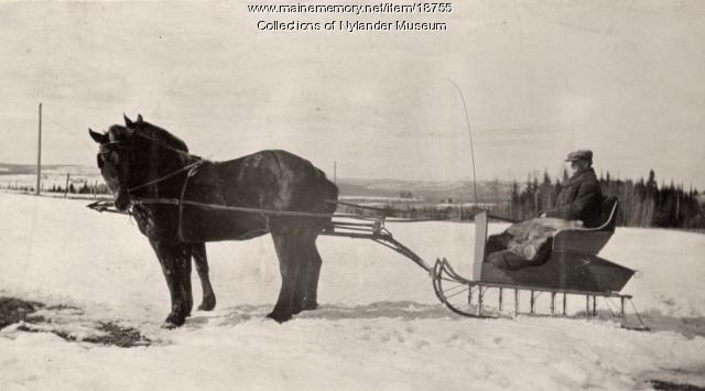 Martin Landstrom in pung, New Sweden, ca. 1922