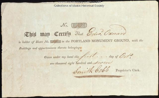 Share certificate, Portland Monument Ground, 1807