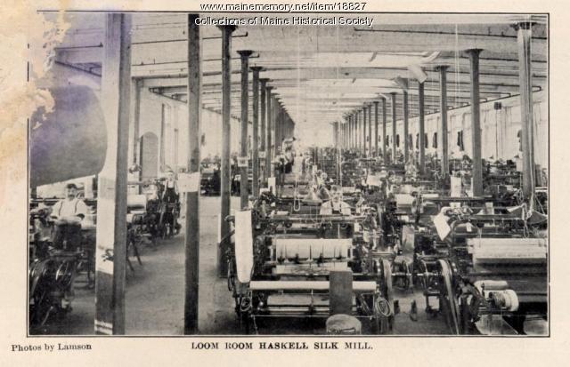 Loom room, Haskell Silk Mill, Westbrook, 1907