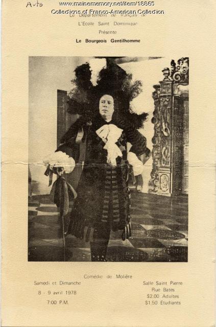 Theater program, 'Le Bourgeois Gentilhomme,' Lewiston, 1978