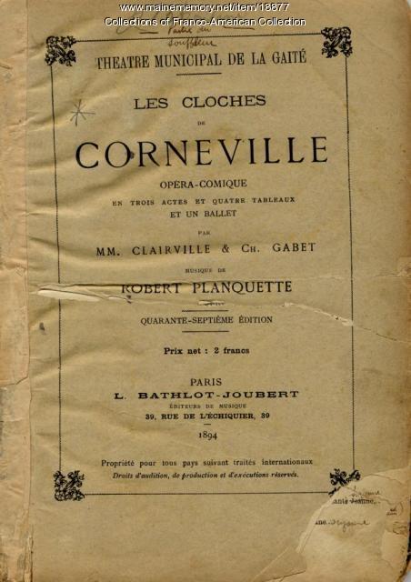 'Les Cloches de Corneville' script, 1894