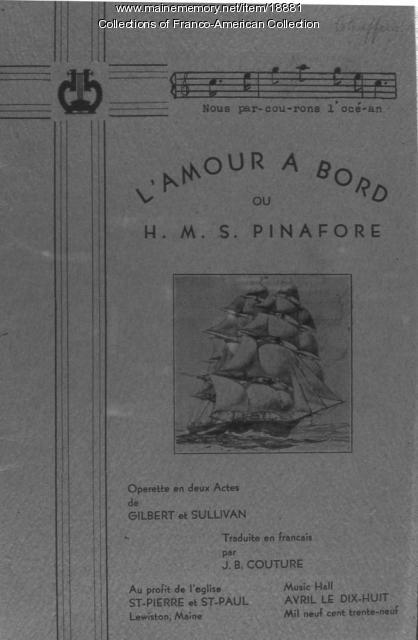 Program, 'L'Amour A Bord,' Lewiston, 1939