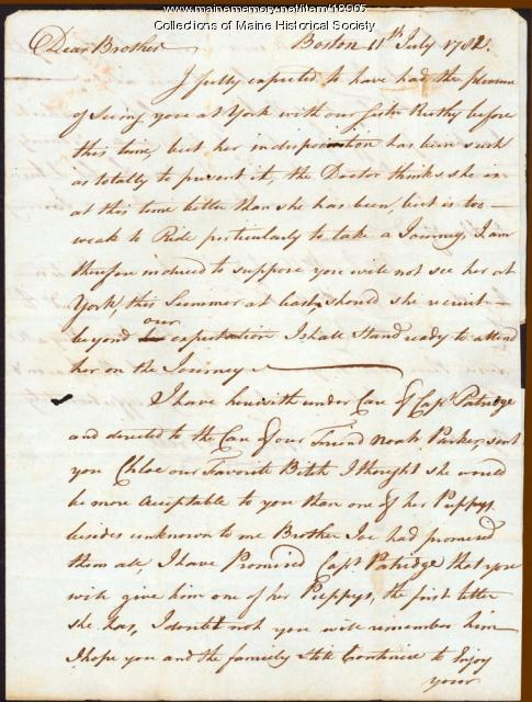 Theodore Barrell letter to Nathaniel Barell, 1782