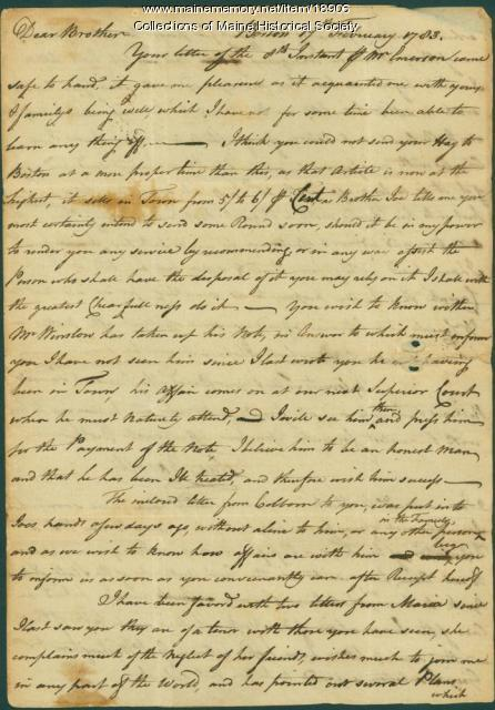 Theodore Barrell letter concerning debts, family issues, 1783