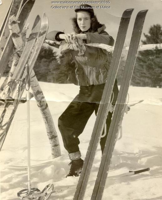 Posing at Pleasant Mountain, Bridgton, ca. 1955