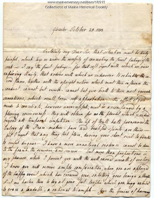 Letter to Nathaniel Barrell from Judith Stevens, 1783