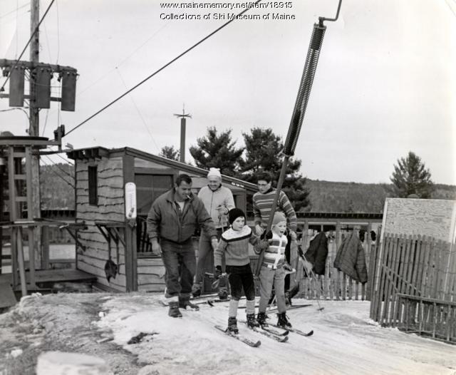 Kids load the T-bar, Bridgton, ca. 1955.