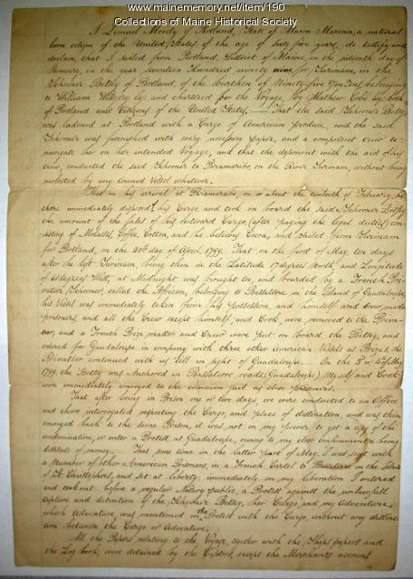 Affidavit of capture and imprisonment aboard ship, 1842