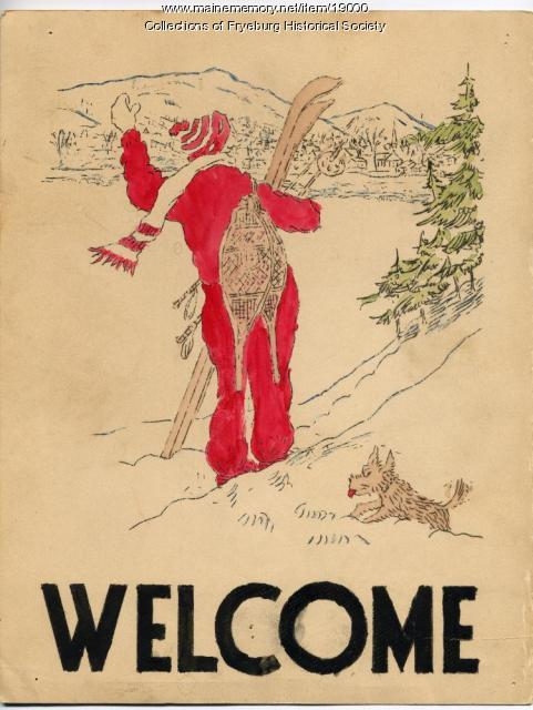 Welcome poster, Fryeburg, 1937