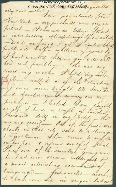 John Neal letter from Baltimore, 1815