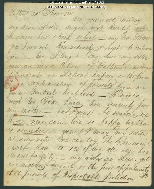 John Neal letter to sister, 1815