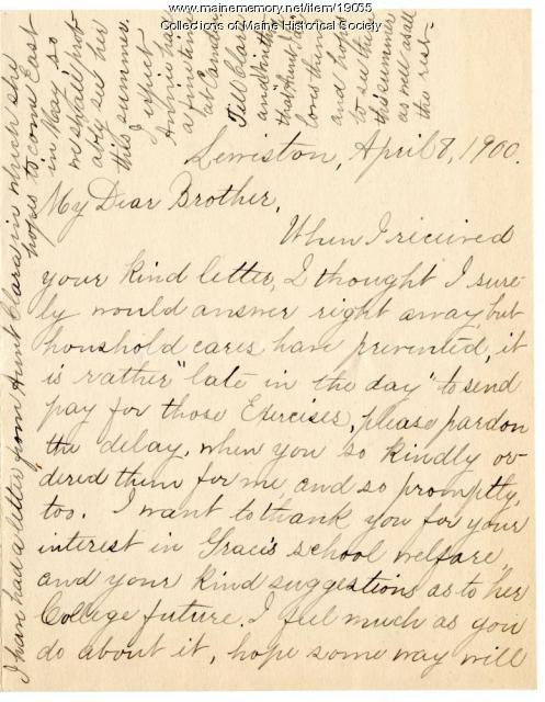 Letter from Ida Winslow Skinner to Burton Winslow, 1900