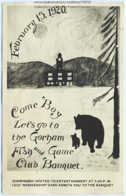 Fish and Game Club invitation, Gorham, 1920